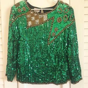 Vintage Kelly Green Deco Sequin Top
